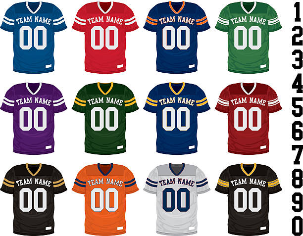 Football Jersey Collection Football Jersey Collection american football uniform stock illustrations