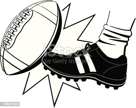 Football Kickoff Bw Stock Vector Art & More Images of