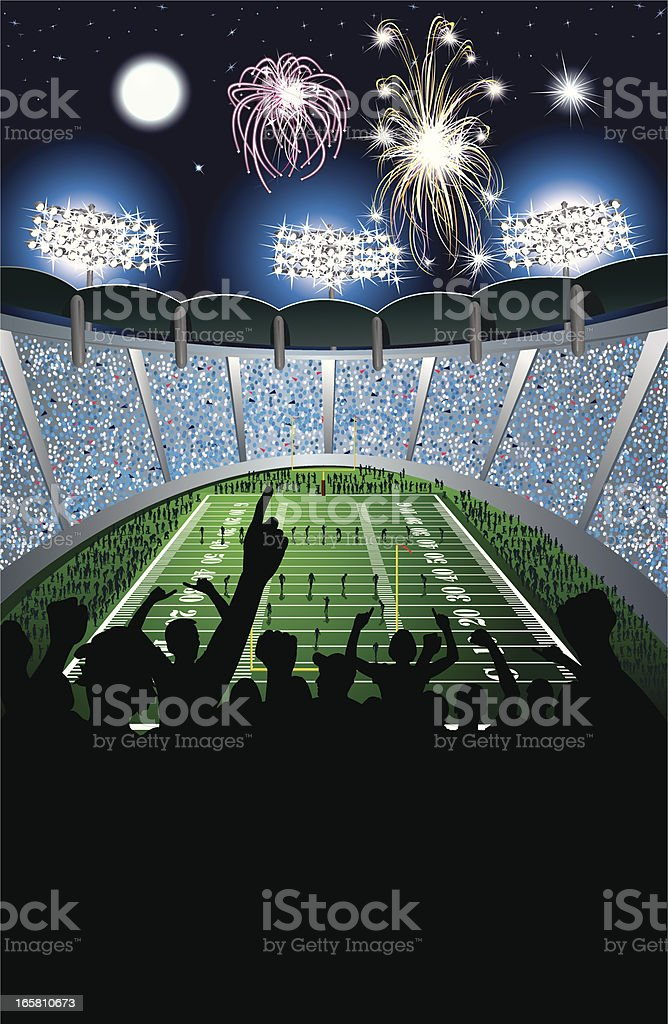 Football Kickoff in Stadium, Crowd and Fireworks Background royalty-free stock vector art