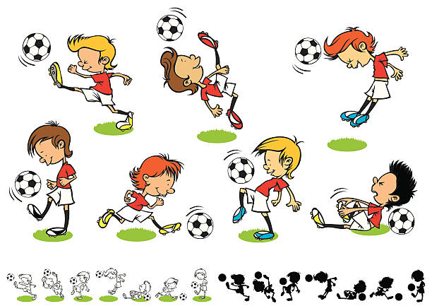 Fußball-Kinder – Vektorgrafik