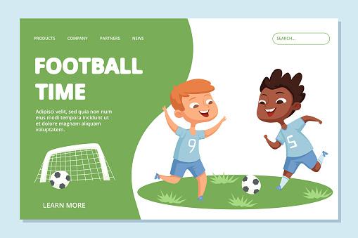Football landing page template. Sport team kids vector character