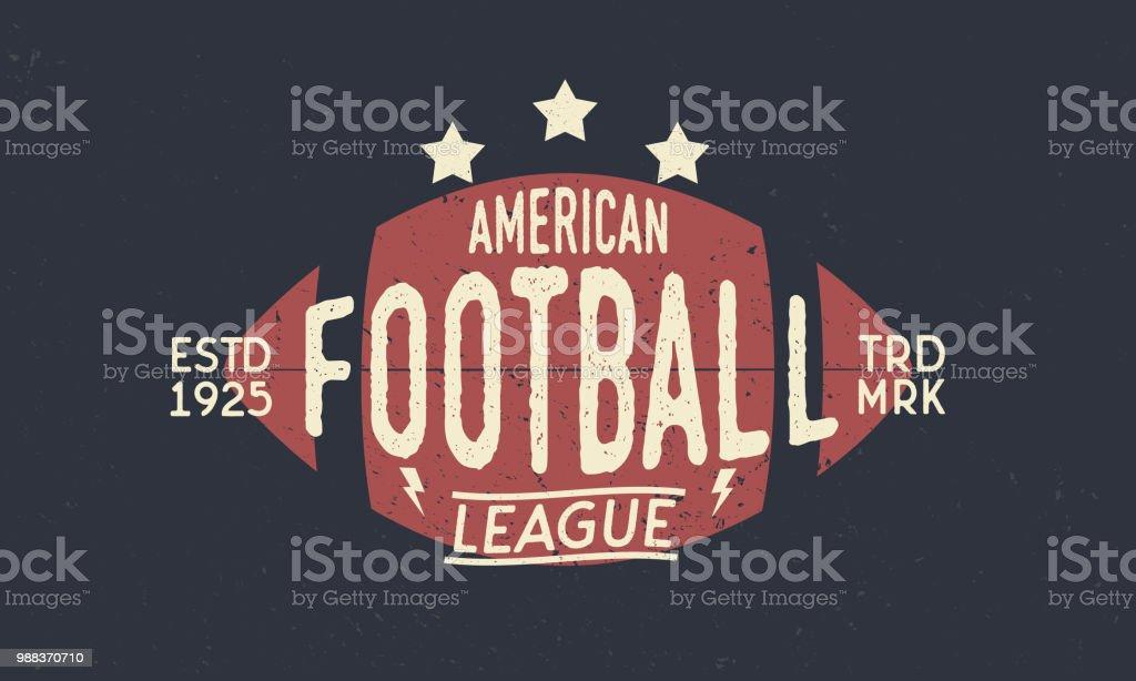 Symbole de Ligue de football. Ballon de Football américain. Symbole de rétro tendance. Affiche avec la silhouette du texte et de la balle. Modèle. Illustration vectorielle - Illustration vectorielle