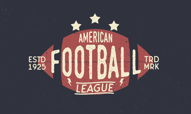 football league symbol. american football ball. trendy retro symbol. vintage poster with text and ball silhouette. template. vector illustration - football stock illustrations