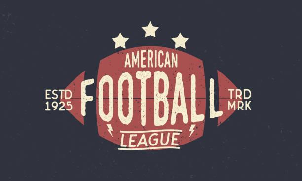 Símbolo de la Liga de fútbol. Balón de fútbol americano. Moda retro símbolo. Cartel vintage con la silueta del texto y la bola. Plantilla. Ilustración de vector - ilustración de arte vectorial