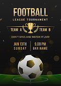 Football league tournament poster design vector illustration. Ball on soccer field. Black and golden theme.