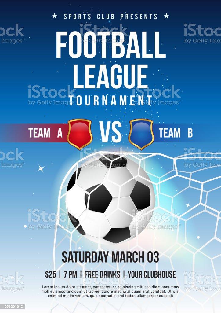 Ilustrao de futebol campeonato torneio cartaz ilustrao vetorial futebol campeonato torneio cartaz ilustrao vetorial bola de futebol no gol net com cu azul stopboris Choice Image