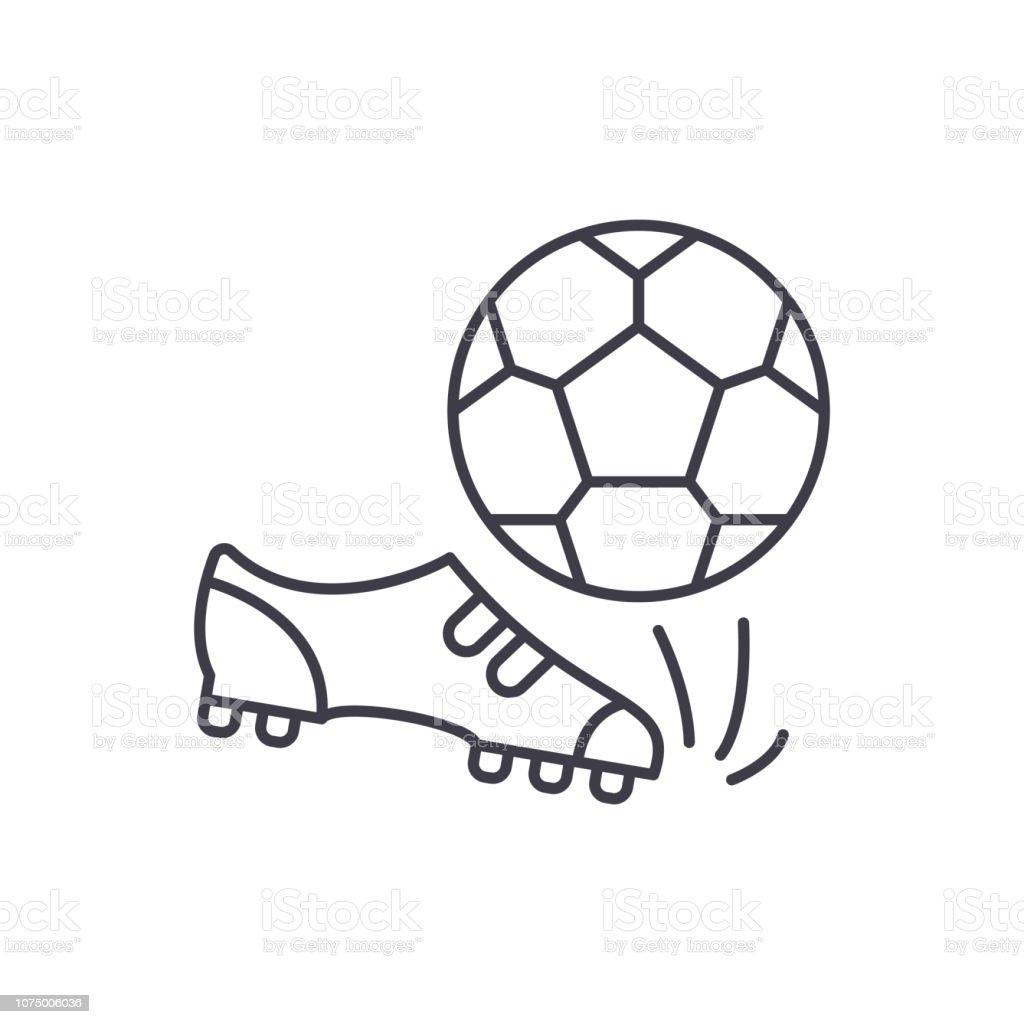 Football line icon concept. Football vector linear illustration, symbol, sign vector art illustration