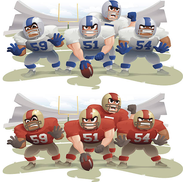 Football - Line of Scrimmage American football line of scrimmage. Layered & grouped for ease of use. Download includes EPS8 file and hi-res jpeg.  line of scrimmage stock illustrations