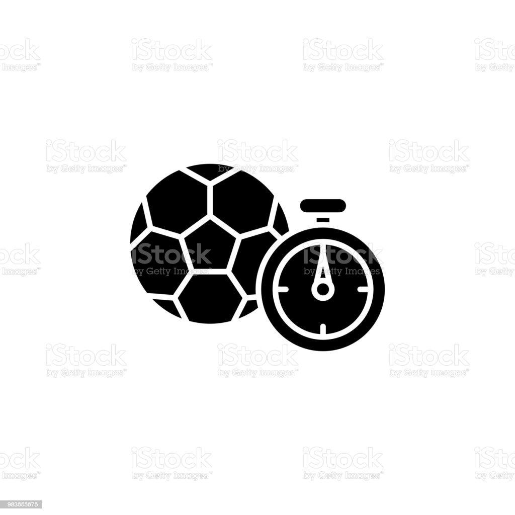 Fussball Spiel Schwarze Symbol Konzept Fussballspiel Flache