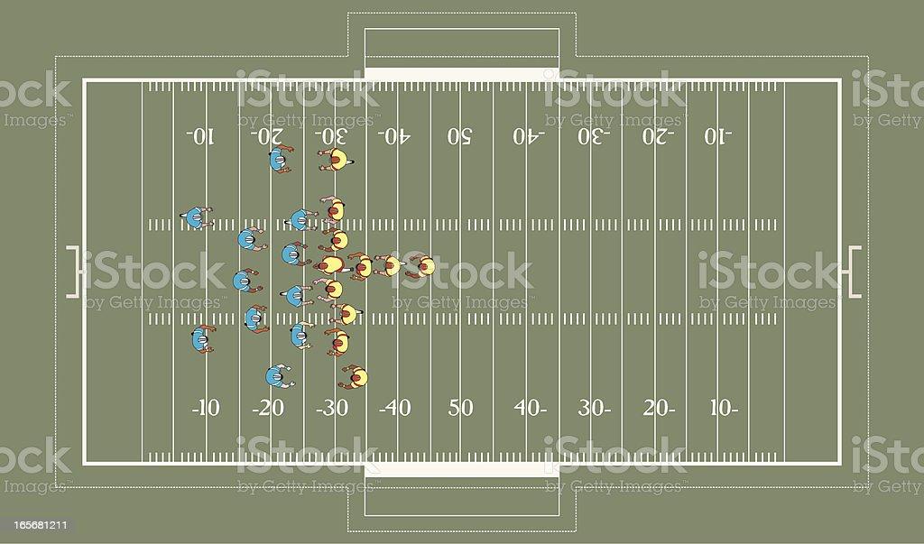 Football match in progress vector art illustration