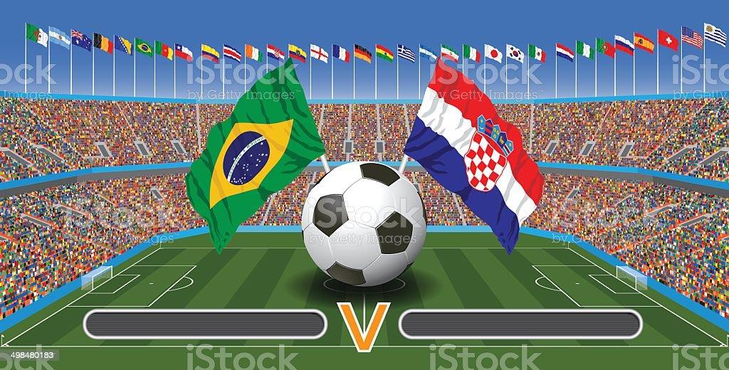 Partido de fútbol - ilustración de arte vectorial