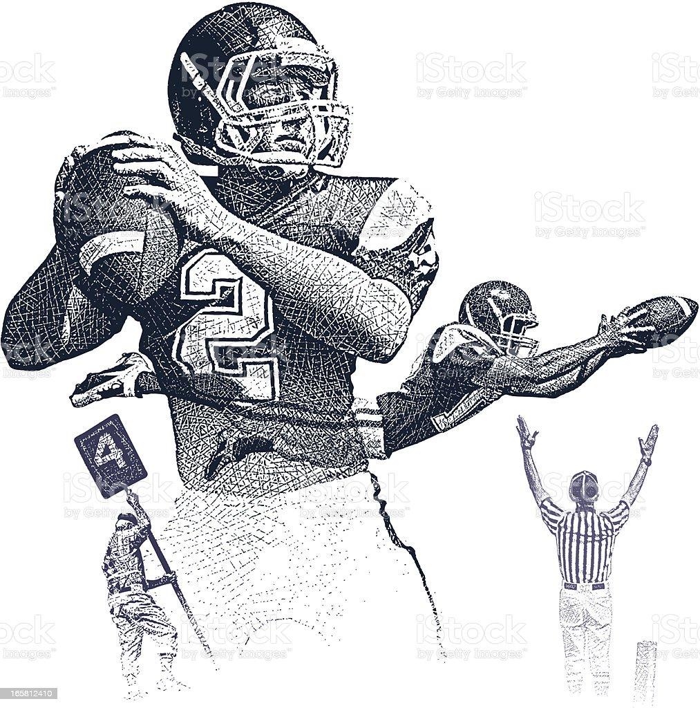 Football Montage vector art illustration