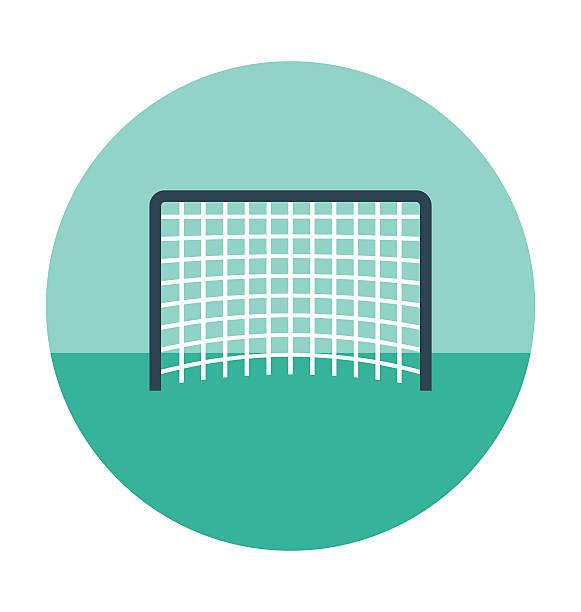 stockillustraties, clipart, cartoons en iconen met football net colored vector icon - soccer goal