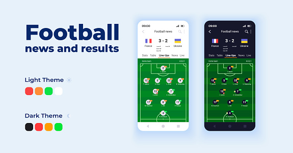 Football news and results cartoon smartphone interface vector templates set