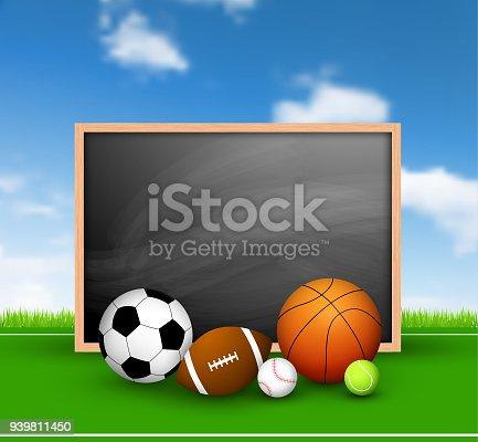 Futebol em um campo e quadro-negro