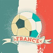 vintage soccer symbol of football on french flag in rough painted look