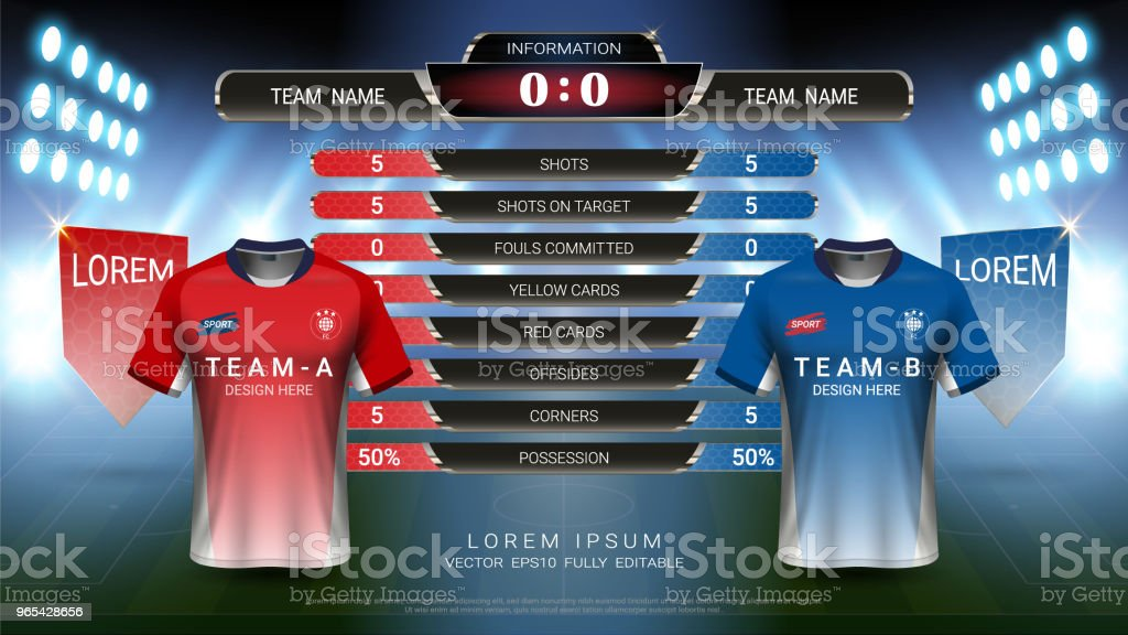 Football or championship sport event, Soccer jersey mock-up and scoreboard match vs strategy broadcast graphic template, For presentation score or game results (Vector Eps10, fully editable) royalty-free football or championship sport event soccer jersey mockup and scoreboard match vs strategy broadcast graphic template for presentation score or game results stock vector art & more images of horizontal