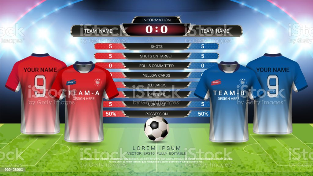 Football or championship sport event, Soccer jersey mock-up and scoreboard match vs strategy broadcast graphic template, For presentation score or game results (Vector Eps10, fully editable) royalty-free football or championship sport event soccer jersey mockup and scoreboard match vs strategy broadcast graphic template for presentation score or game results stock illustration - download image now