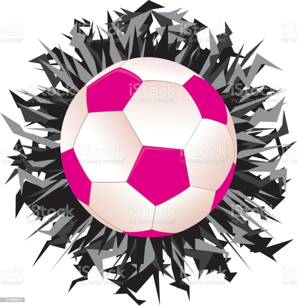 Football or Soccer Ball in Pink with a Burst royalty-free football or soccer ball in pink with a burst stock vector art & more images of ball
