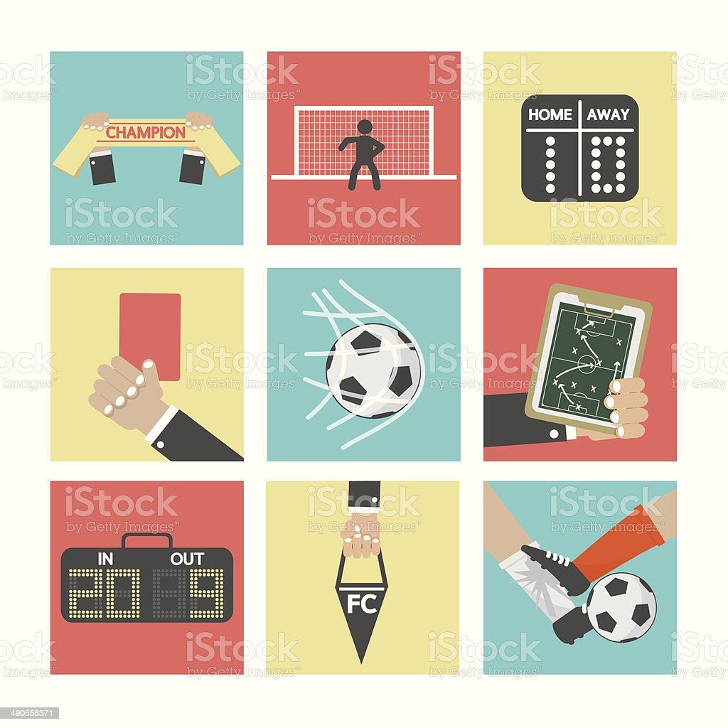 Conjunto de iconos de fútbol o fútbol - ilustración de arte vectorial