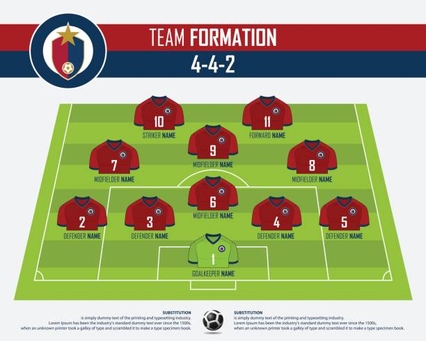 football or soccer match formation infographic. soccer jersey and football player position on football pitch. football symbol in flat design. vector. - composition stock illustrations