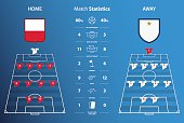 Football or soccer match statistics infographic. Football tactic. Vector
