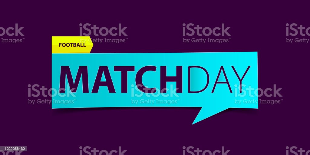 football or soccer matchday banner on purple background sport news