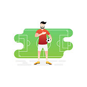 Football or soccer player vector illustration. Football player standing with ball Simple Flat vector illustration template Graphic Design. Football Sport Lifestyle design isolated on white background.