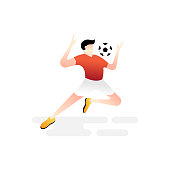 Football or soccer player vector illustration. Football player controlling ball Simple Flat vector illustration template Graphic Design. Football Sport Lifestyle design isolated on white background.