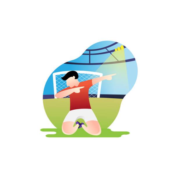 stockillustraties, clipart, cartoons en iconen met voetbal of voetbalspeler vector illustratie. - internationale voetbal