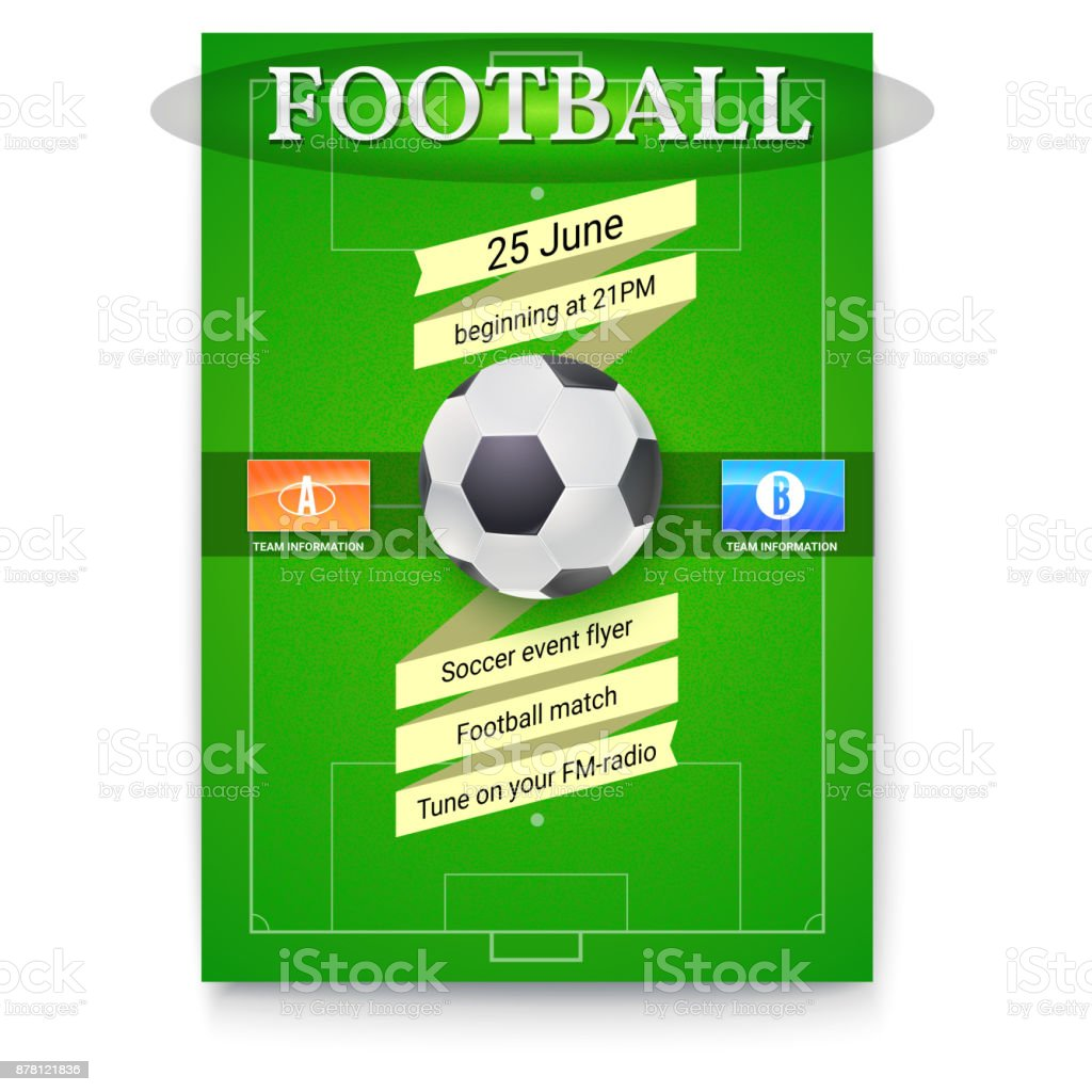 Football Or Soccer Poster With Text Design Template For Game