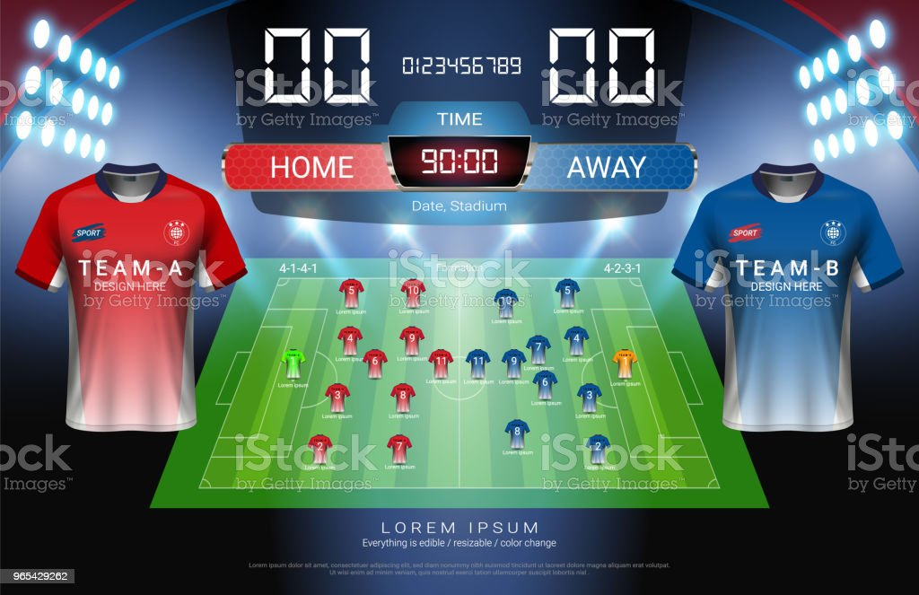 Football or soccer starting lineup, Jersey uniforms and Digital timing scoreboard match vs strategy broadcast graphic template for presentation score or game results (Vector file fully editable) royalty-free football or soccer starting lineup jersey uniforms and digital timing scoreboard match vs strategy broadcast graphic template for presentation score or game results stock vector art & more images of agricultural field