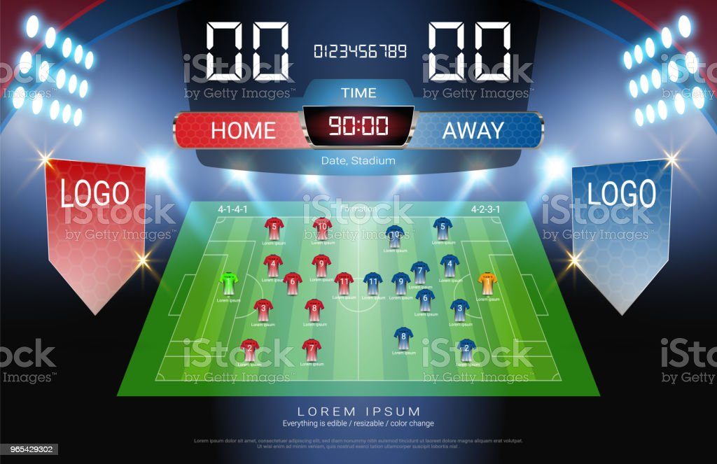 Football or soccer starting lineup, Jersey uniforms and Digital timing scoreboard match vs strategy broadcast graphic template for presentation score or game results (Vector file fully editable) royalty-free football or soccer starting lineup jersey uniforms and digital timing scoreboard match vs strategy broadcast graphic template for presentation score or game results stock vector art & more images of ball