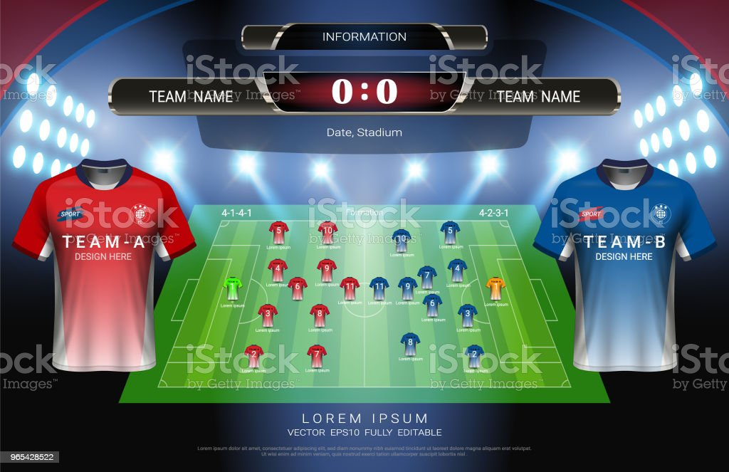 Football or soccer starting lineup, Jersey uniforms and scoreboard match vs strategy broadcast graphic template for presentation score or game results of sport tournament (Vector file fully editable) football or soccer starting lineup jersey uniforms and scoreboard match vs strategy broadcast graphic template for presentation score or game results of sport tournament - stockowe grafiki wektorowe i więcej obrazów codzienne ubranie royalty-free