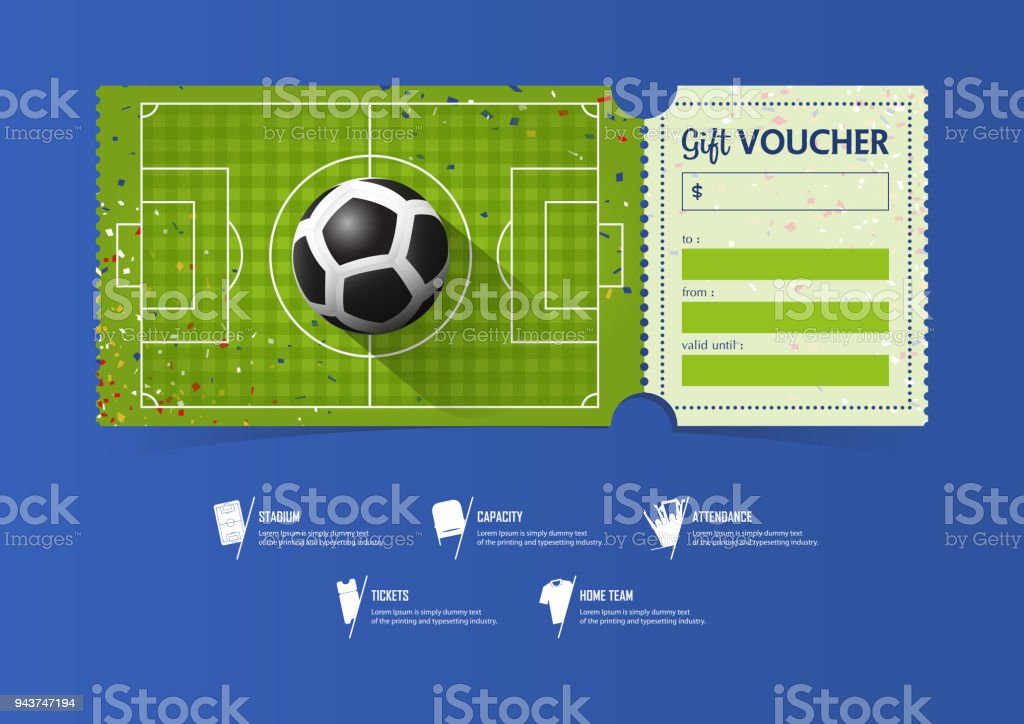Football Or Soccer Ticket Template Design For Sport Match Soccer ...