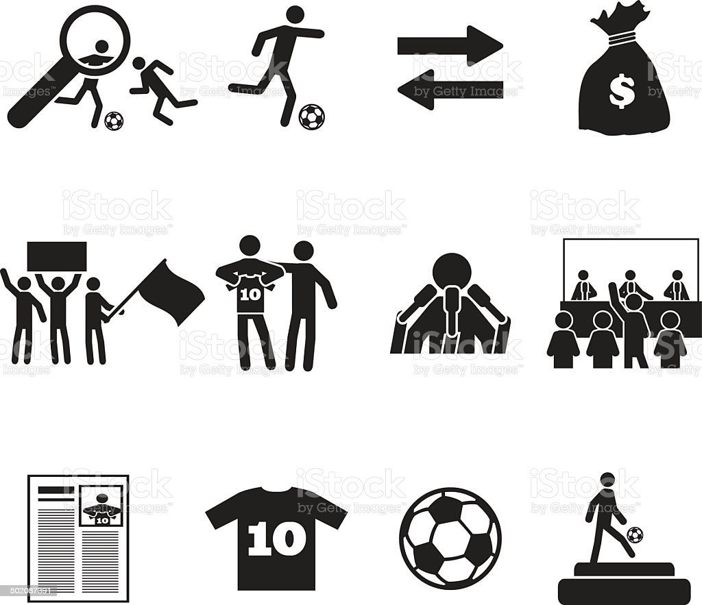Football or soccer transfer icons set vector art illustration