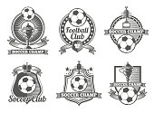 Football or soccer vintage vector labels, logos, emblems