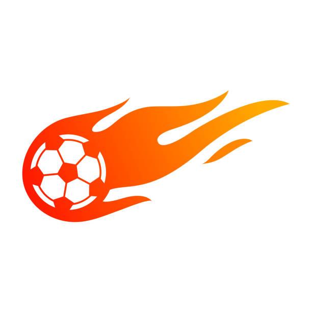 bildbanksillustrationer, clip art samt tecknat material och ikoner med fotboll eller fotboll med eld flamma symbol. - fotboll eld