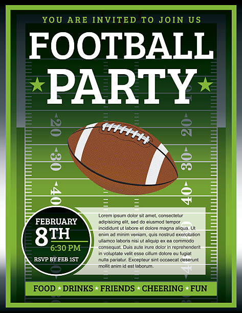 Football Party Flyer An EPS 10 flyer design perfect for tailgate parties, football invites, etc. File contains transparencies. Text elements are layered for easy removal and customizing of your copy. ncaa college football stock illustrations