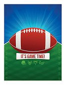 Football party invite poster with space for your copy. 8.5 inches by 11 inches. EPS 10 file. Transparency effects used on highlight elements.