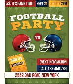 Football party invite poster with space for your copy. Size: 8.5in x 11in. EPS 10 file. Transparency effects used on highlight elements.