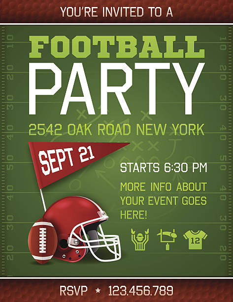 Football Party Invite Poster Football party invite poster with space for your copy. 8.5 inches by 11 inches. EPS 10 file. Transparency effects used on highlight elements. american football uniform stock illustrations