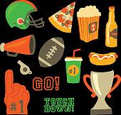 Football party vector icon set. championship game celebration. American football vintage retro style. Sport game Helmet, award, cup, trophy, pizza slice, football, popcorn, beer bottle, megaphone, foam hand