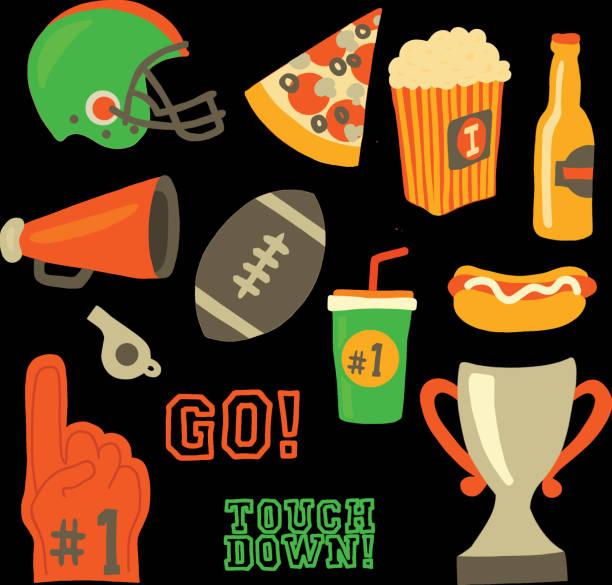 Football party vector icons Super bowl celebration vector art illustration