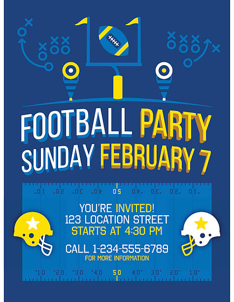 Football Party Football party invitation banner content poster. EPS 10 file. Transparency effects used on highlight elements. ncaa college football stock illustrations