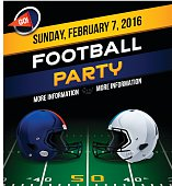 Football party invitation concept. EPS 10 file. Transparency effects used on highlight elements.