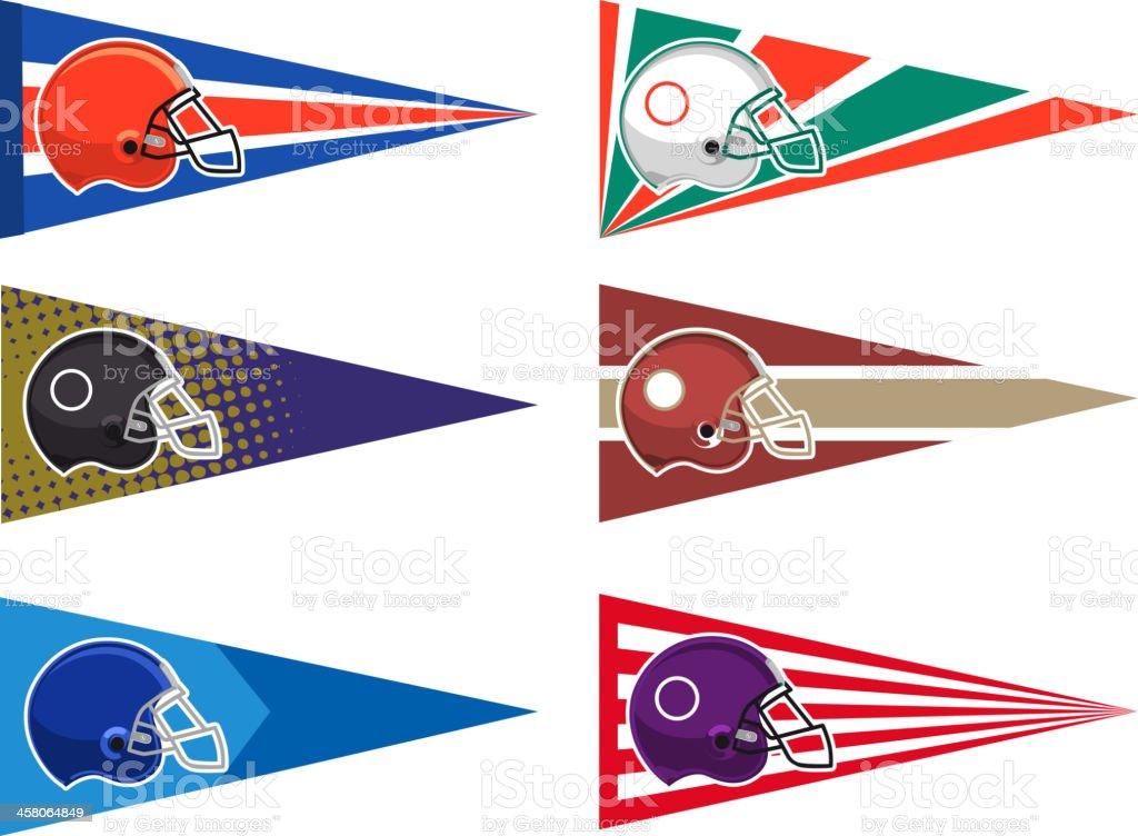 Football pennant set vector art illustration
