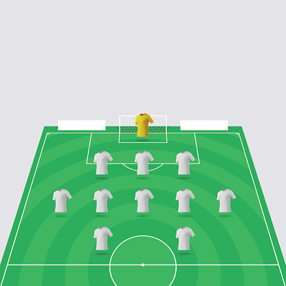 Football Pitch / Soccer Field Section with Shirts