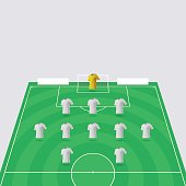 A 3D vector illustration showing half of a football pitch tilted at an angle. The illustration includes white pitch markings on a green field along with eleven blank shirts representing the players on the football team. This is a unique design element, easy to customise and ideal for your sporting design project. The colours of the background, shirts and the pitch itself can all be changed easily and the different elements are separated onto organised layers within the vector file. The eps file is fully scalable without any loss of quality.