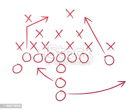 Football play plan coaching diagram drawing.